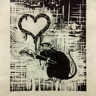 Relief Print from Woodcut; Ink on Paper - 12x16