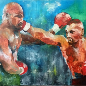 Evander & Mike - 36x24, Oil on Canvas