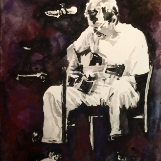 SOLD - Clapton and the Blues - 18 x24, Watercolor on Paper