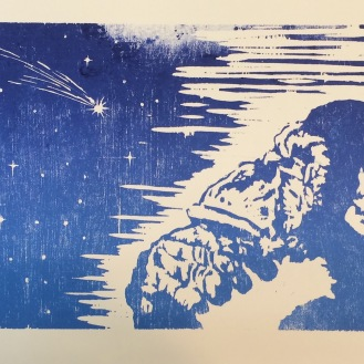 SOLD - Contemplation - 11x16 Relief Print; Ink on Paper