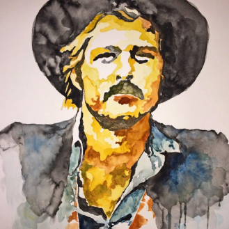 "Robert Redford as Sundance, in the '69 classic ""Butch Cassidy & the Sundance Kid"" - 18x24, Watercolor on Paper"