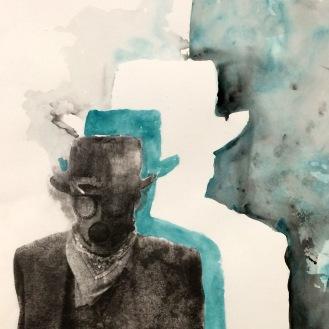 Shadows - 18x24 Xerox Transfer w/ Watercolor Tint on Paper