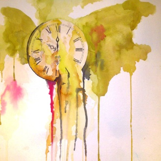 SOLD - Wasted Time - 18x18 - Watercolor on Paper