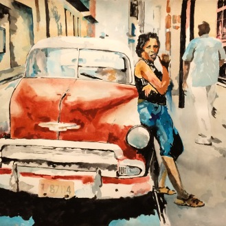 SOLD - Streets of Havana 1.1 - 18x24 Watercolor on Paper