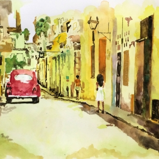 Streets of Havana 1.0 - 18x24, Watercolor on Paper