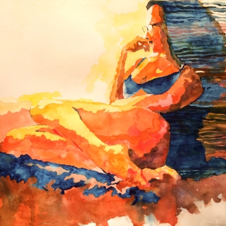In Repose - 18x24, Watercolor on Paper
