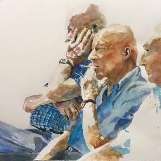 Three Men in Cortona - 15x24, Watercolor on Paper