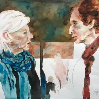 A Day at the MOMA - 16x20 Watercolor on Paper