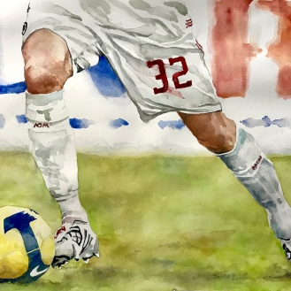 the Decisive Moment - David Beckham, 18x24 Watercolor on Paper