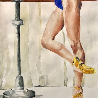 the Decisive Moment - Under the Barre, 18x24 Watercolor on Paper