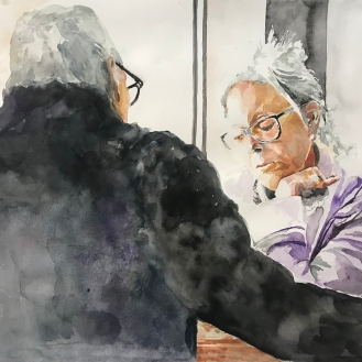 the Talk, 18x24 Watercolor on Paper