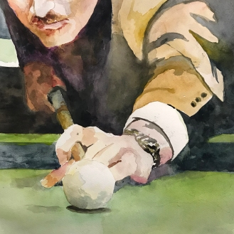 the Decisive Moment - Fast Eddie, 9x12 Watercolor on Paper