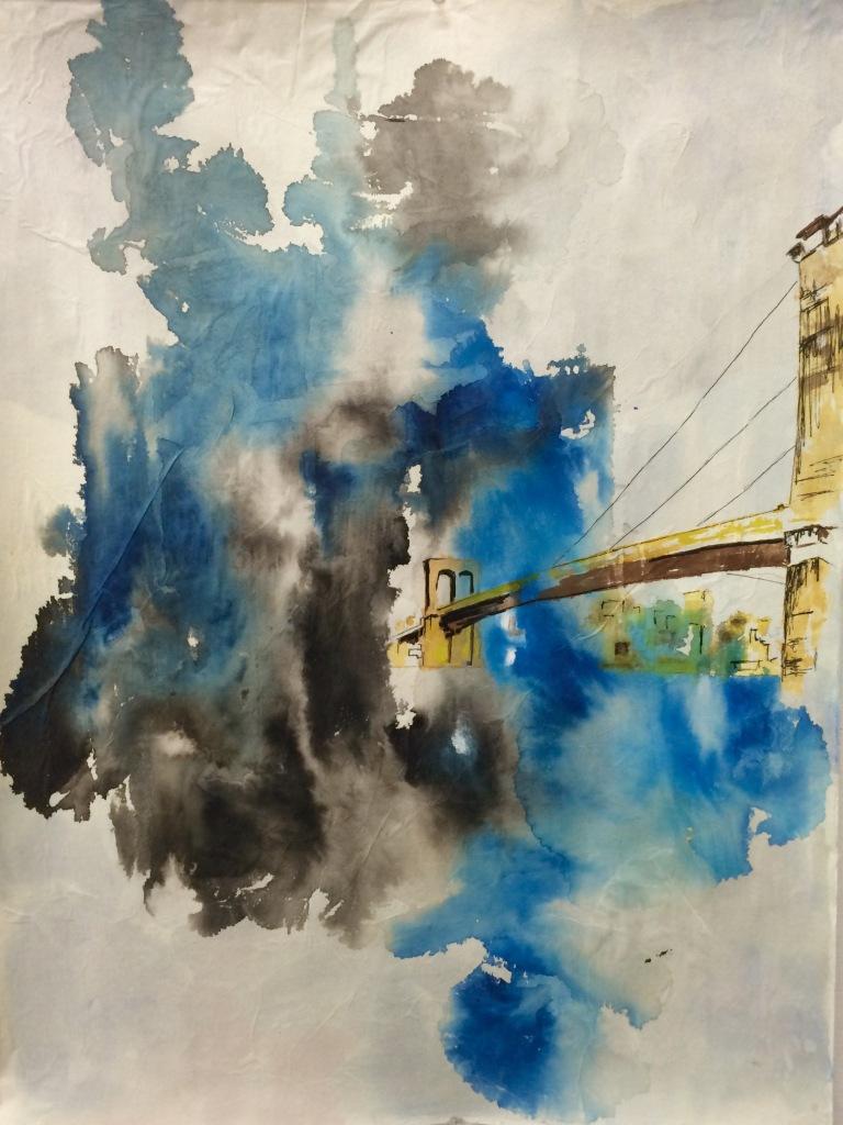 Manhattan Street Bridge, 18x24 Ink on Paper